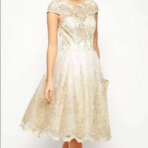 Chi Chi London Lace Midi Dress with Tulle Skirt